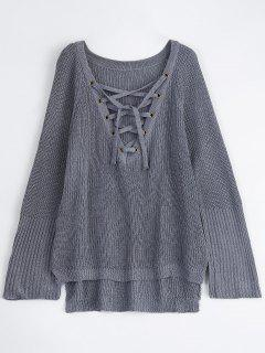 High Low Lace-Up V Neck Sweater - Gray S