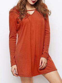 Long Sleeves Swing V Neck Dress - Dark Auburn S