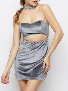 Velvet Cut Out Choker Robe Moulante - Gris Clair S