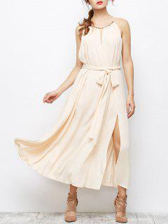 Cut Out High Furcal Prom Maxi Dress - Apricot S