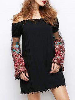 Hombro Vestido De Paisley - Negro S