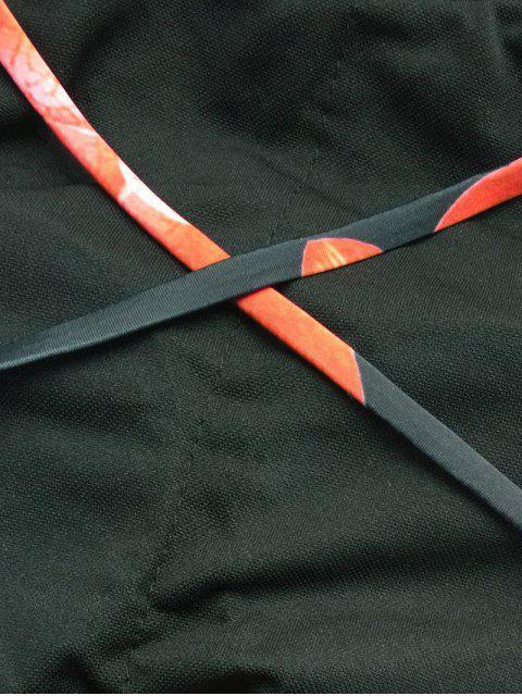 trendy Crisscross High Neck Floral Bikini - BLACK M Mobile