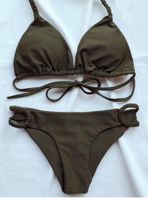 Bikini découpé bas à col halter - Vert Armée  S Mobile