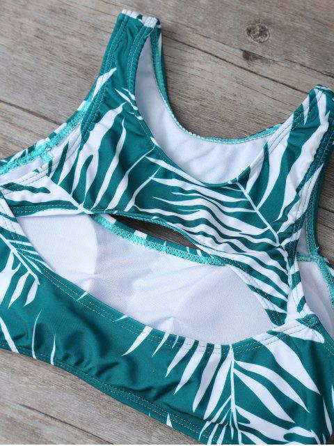 women's Tropical Print Cut Out Bikini Set - GREEN M Mobile