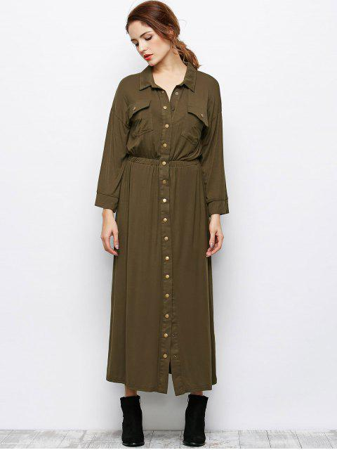 chic Maxi Single Breasted Military Shirt Dress - ARMY GREEN L Mobile