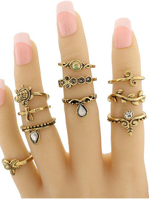 Geometrische Schmuck Ring Set mit Blattform und Schildkröte - Golden  Mobile