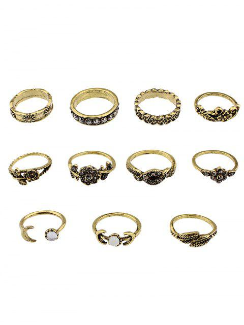 shops Flower Leaf Rhinestoned Jewelry Ring Set - GOLDEN  Mobile