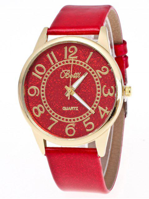 unique Faux Leather Glitter Number Watch - RED  Mobile