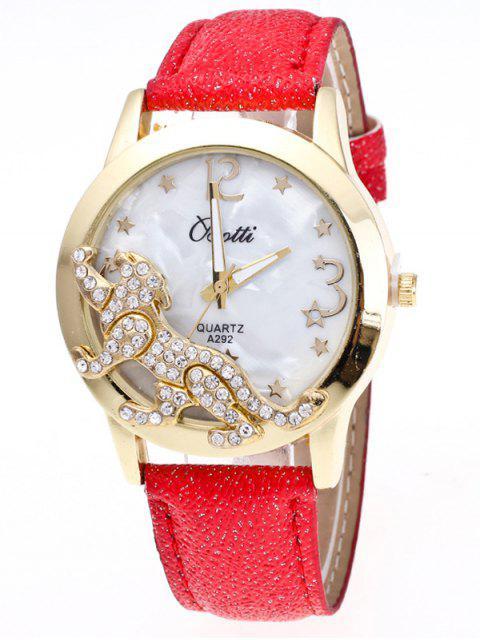ladies Faux Leather Leopard Quartz Watch - RED  Mobile