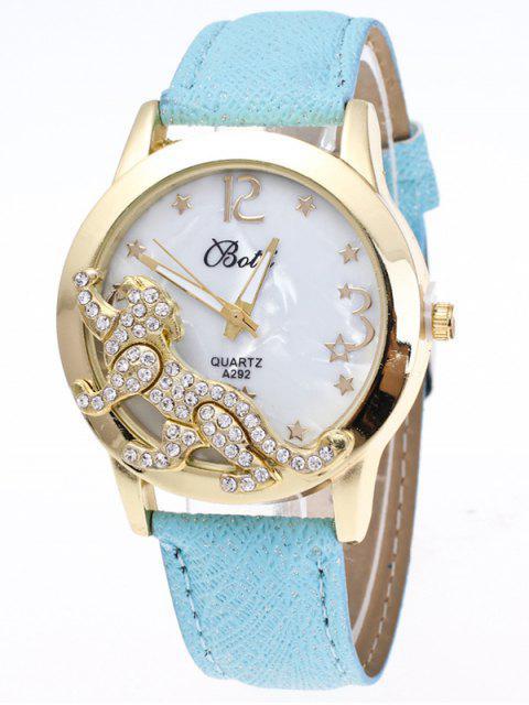best Faux Leather Leopard Quartz Watch - LIGHT BLUE  Mobile