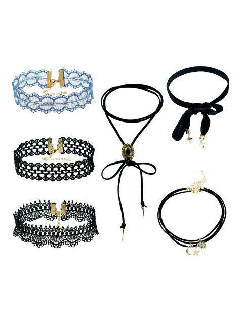 online 6 PCS Lace Star Moon Necklaces - BLACK  Mobile