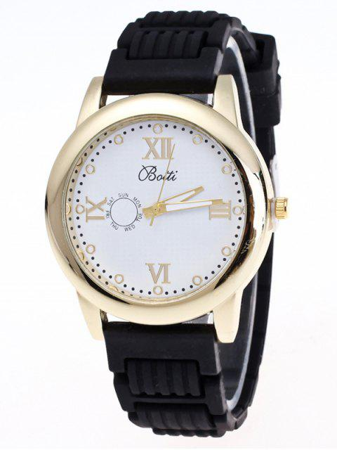 hot Silicone Roman Numerals Quartz Watch - BLACK  Mobile