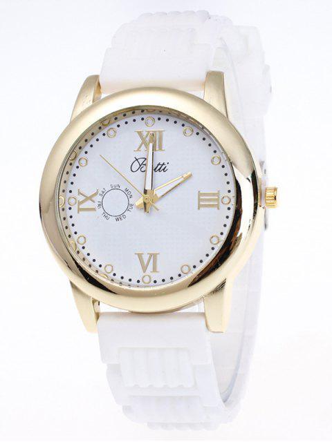 outfit Silicone Roman Numerals Quartz Watch - WHITE  Mobile
