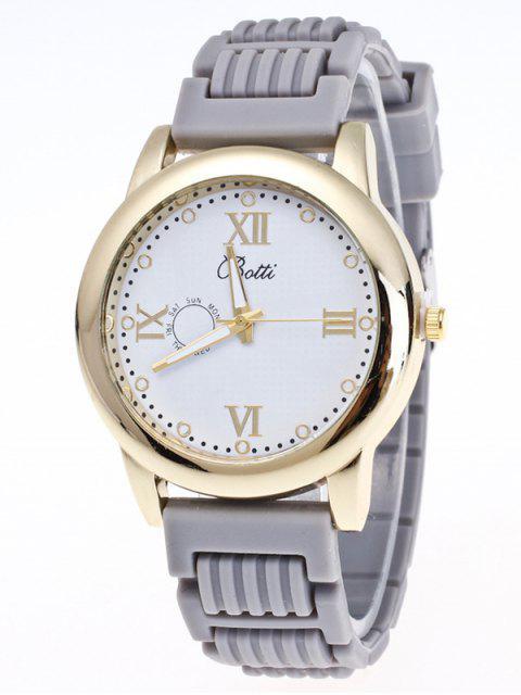outfits Silicone Roman Numerals Quartz Watch - GRAY  Mobile