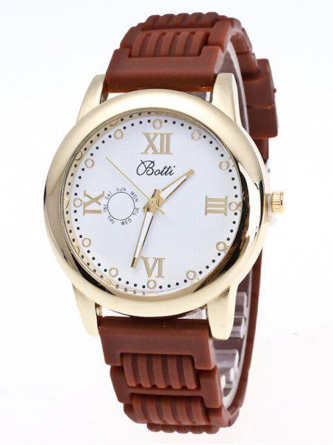 shops Silicone Roman Numerals Quartz Watch - BROWN  Mobile
