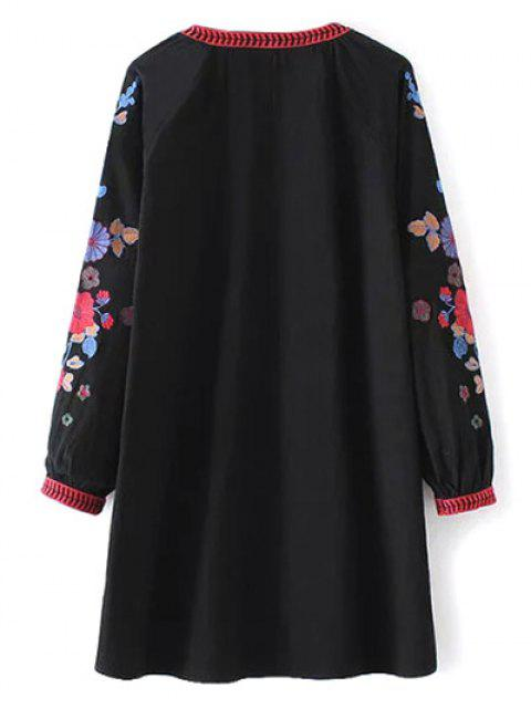 chic A Line Embroidered Tunic Dress - BLACK S Mobile