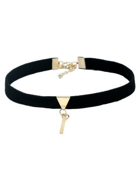 hot Velvet Lace Triangle Necklaces - BLACK  Mobile