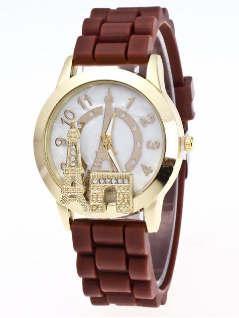 affordable Eiffel Tower Silicone Quartz Watch - BROWN  Mobile