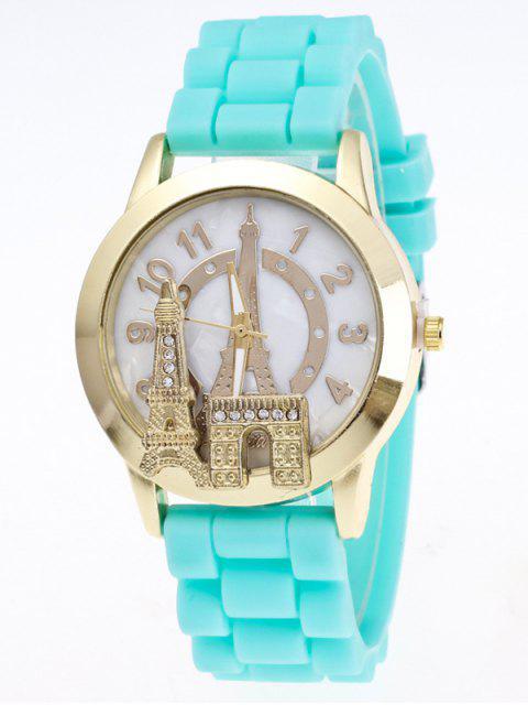 womens Eiffel Tower Silicone Quartz Watch - LAKE BLUE  Mobile