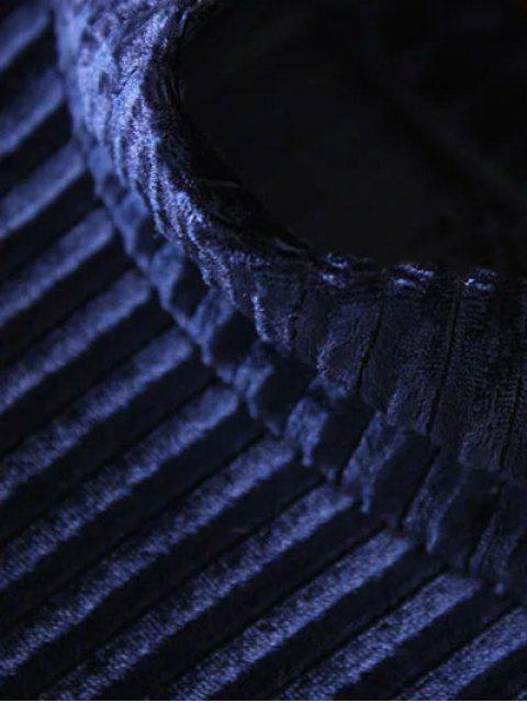 outfit Side Slit High Collar Pleated Velvet Dress - BURGUNDY L Mobile