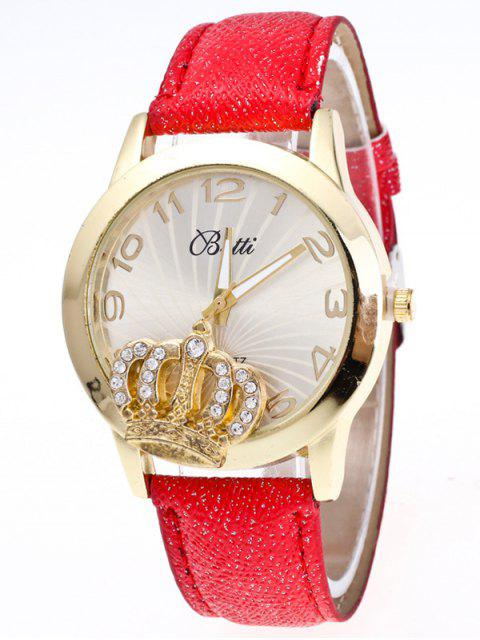 ladies Faux Leather Crown Number Watch - RED  Mobile