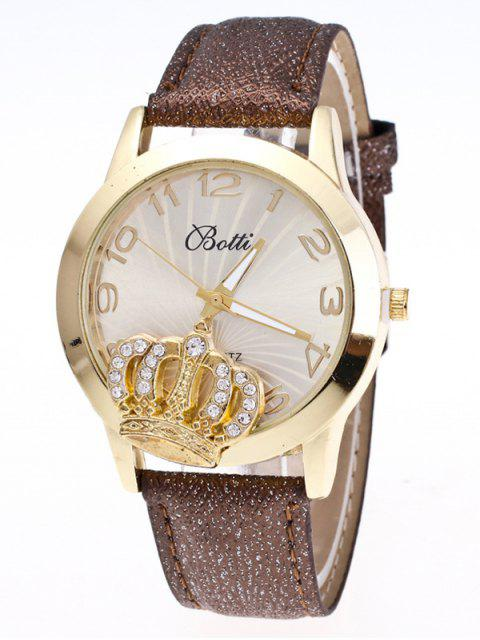best Faux Leather Crown Number Watch - BROWN  Mobile