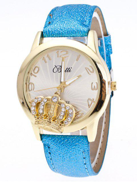 new Faux Leather Crown Number Watch - AZURE  Mobile