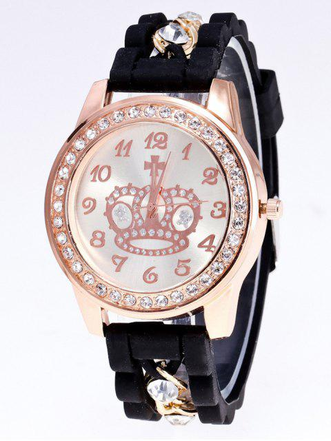hot Silicone Rhinestone Crown Number Watch - BLACK  Mobile