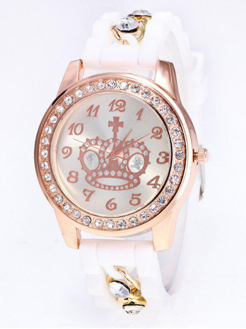 outfit Silicone Rhinestone Crown Number Watch - WHITE  Mobile