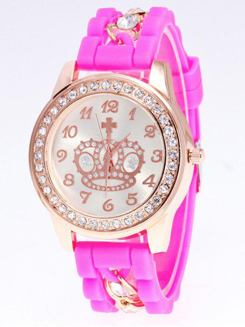 outfits Silicone Rhinestone Crown Number Watch - PINK  Mobile