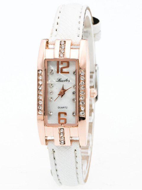 unique Faux Leather Rhinestone Rectangle Watch - WHITE  Mobile