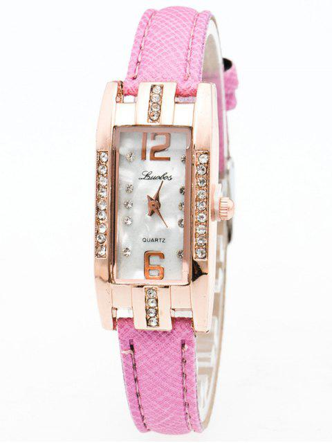 sale Faux Leather Rhinestone Rectangle Watch - PINK  Mobile