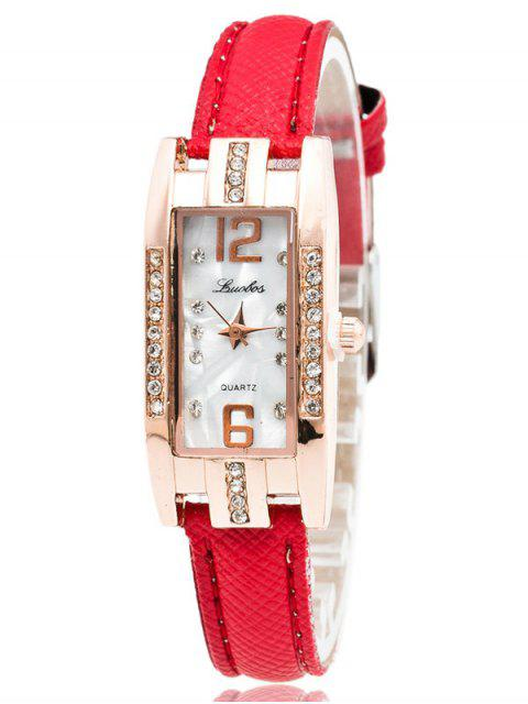 affordable Faux Leather Rhinestone Rectangle Watch - RED  Mobile