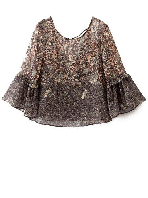 women's Printed Strappy Back Blouse - COLORMIX S Mobile