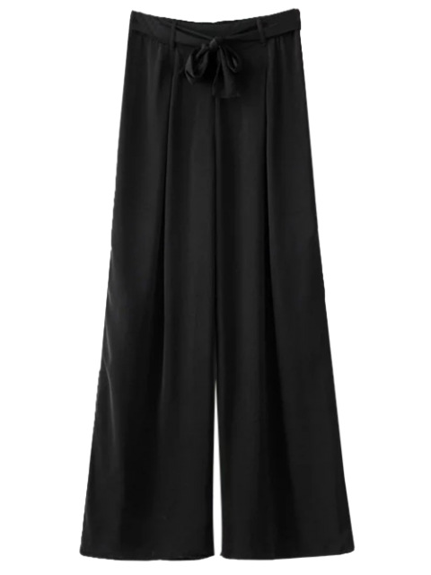 women's Belted Culotte Pants - BLACK M Mobile