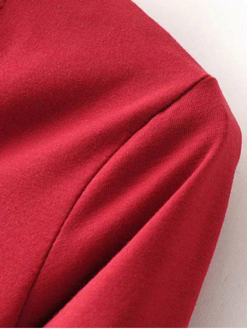 hot Long Sleeve Choker Layering Tee - BURGUNDY M Mobile