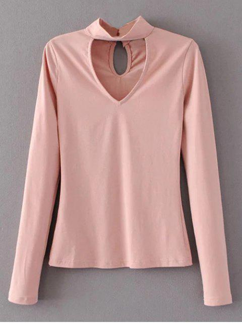 Manches longues Choker Superposition Tee - ROSE PÂLE L Mobile