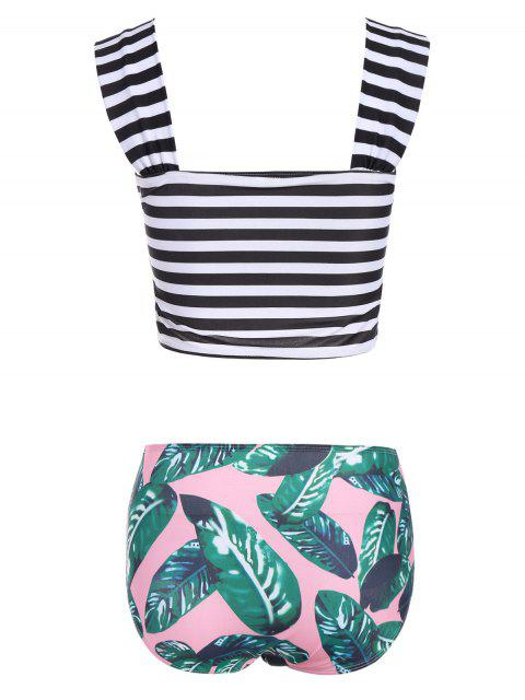 online Palm Leaf Striped Off The Shoulder Bikini - MULTICOLOR S Mobile