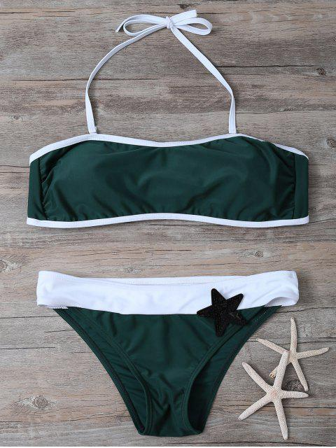 affordable Color Block Sequined Bikini Set - BLACKISH GREEN L Mobile