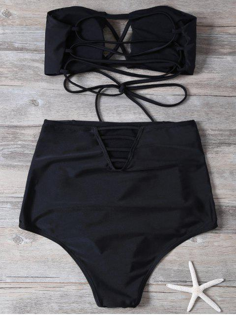 best High Waisted Cut Out Swimsuit - BLACK L Mobile