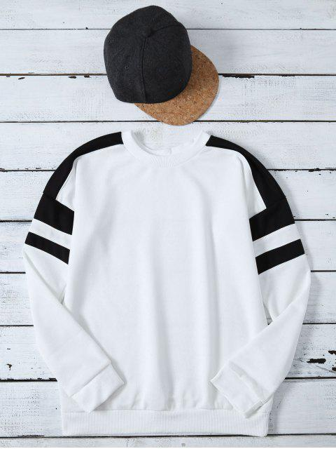 online Casual Color Block Sweatshirt - WHITE L Mobile