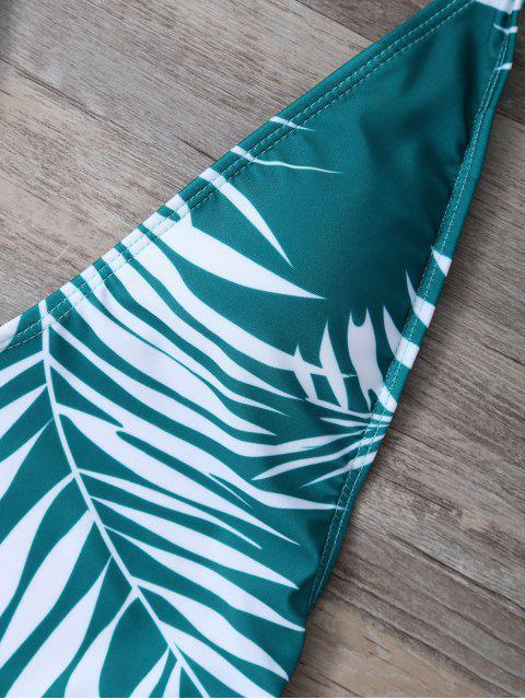 outfit Crosscriss Tropical Print One-Piece Swimwear - GREEN M Mobile