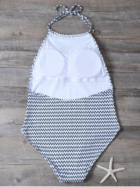 shop Backless Zig Zag One-Piece Swimwear - WHITE XL Mobile