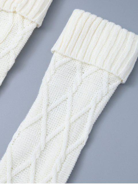 Crantées Skinny Knitting Bas - Blanc TAILLE MOYENNE Mobile