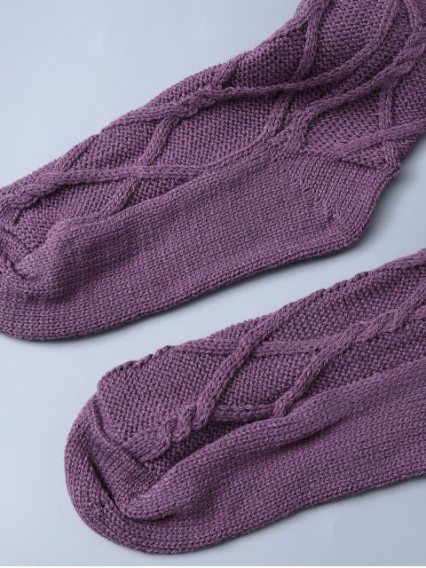 women Notched Skinny Knitting Stockings - PURPLE ONE SIZE Mobile