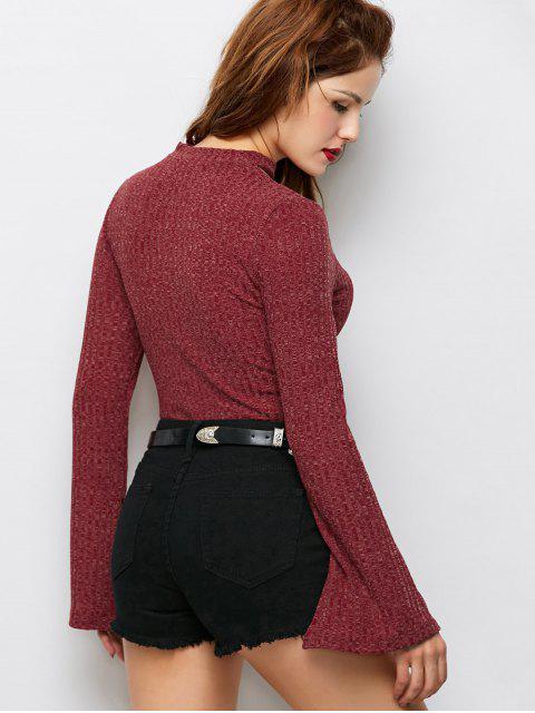 ladies Skinny Choker Long Sleeve Bodysuit - CLARET 2XL Mobile