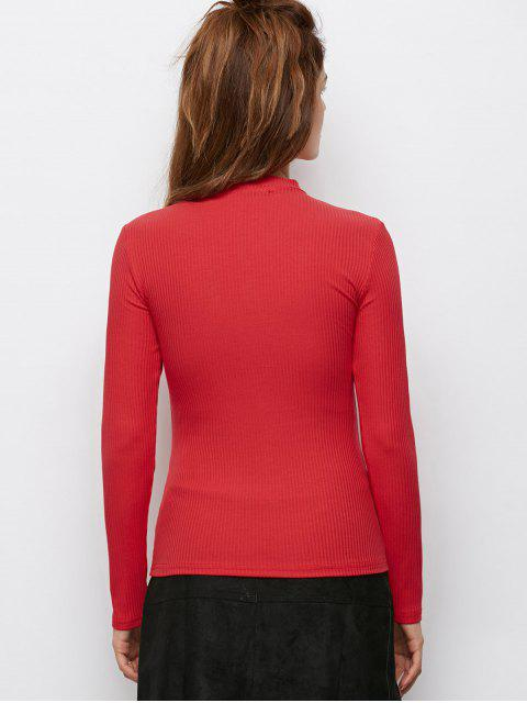 fashion Casual Choker Ribbed Knitwear - RED XL Mobile