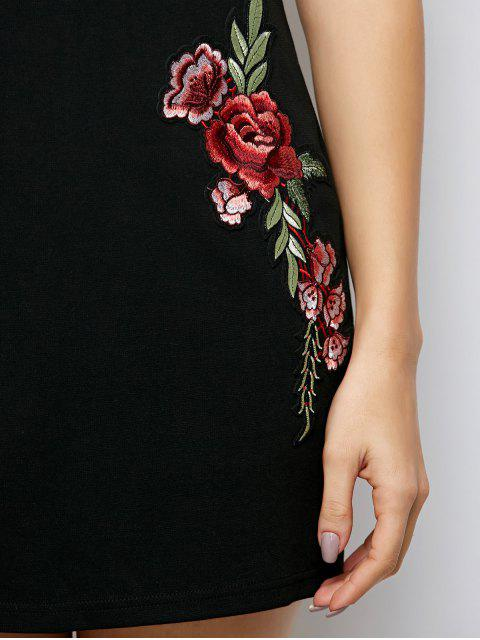 womens Flounced Floral Bodycon Dress - BLACK M Mobile