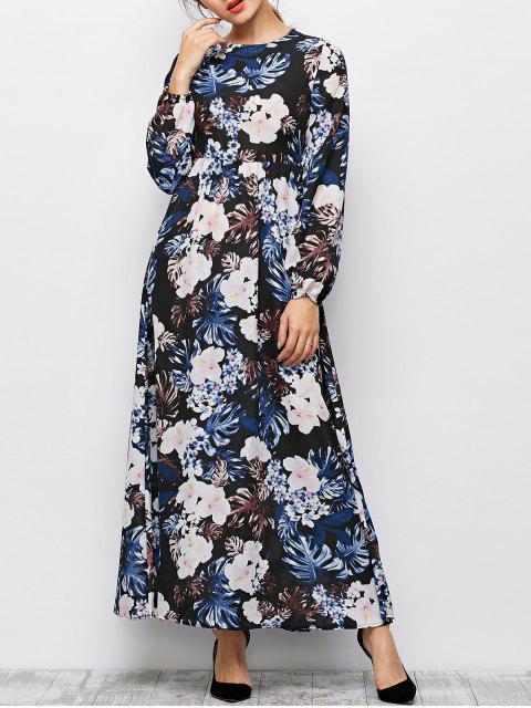 hot Printed Maxi Boho Dress - BLACK M Mobile