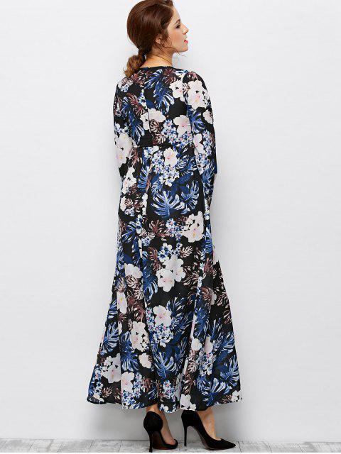 outfit Printed Maxi Boho Dress - BLACK S Mobile